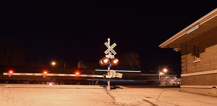 Iron Triangle, Fostoria, Ohio, B&O depot, eastbound NS freight train, Oren B. Helbok photo
