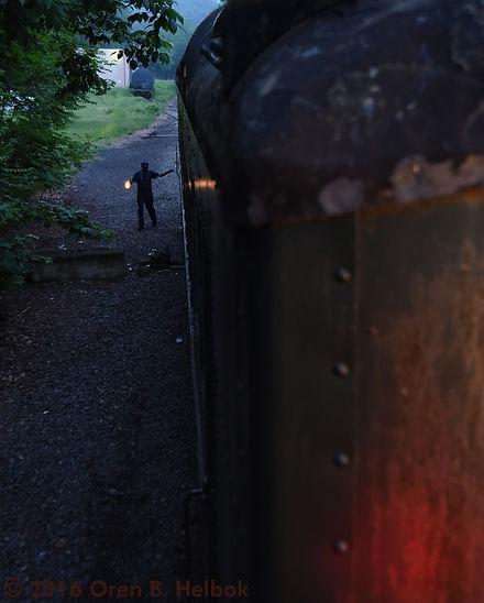 Railway Restoration Project 113's 0-6-0 C.N.J. #113 volunteer John Oross at Minersville