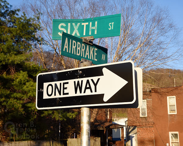 Airbrake Avenue street sign in Wilmerding, Pa.