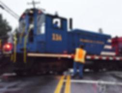Wilmington & Western Railroad #114 with fireworks train at Hockessin, engineer Steve Jensen Jr., flagman Christian Bentley