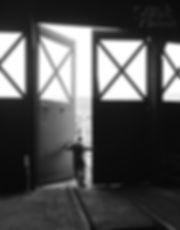 Steamtown engineer Chris LaBar at roundhouse doors