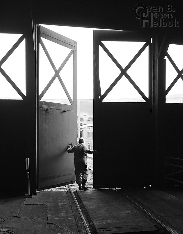 Steamtown engineer Chris LaBar at roundhouse doors