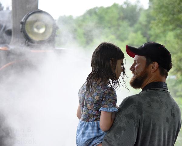 Arcade & Attica Railroad passengers, father and daughter