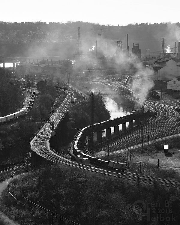 Northbound Union Railroad slab train seen from George Westinghouse Bridge, U.S. Steel Edgar Thompson Works in background
