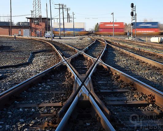 Iron Triangle, Fostoria, Ohio, diamond, F Tower, westbound CSX stack train, Oren B. Helbok photo