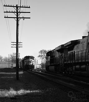 Iron Triangle, Fostoria, Ohio, CSX freights meet, Oren B. Helbok photo