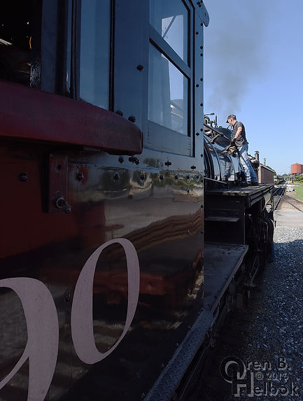 Strasburg Rail Road engineer Darin Esterly polishing #90
