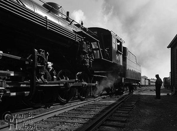 Strasburg Rail Road engineer Earl Knoob with #90 on the blowdown track