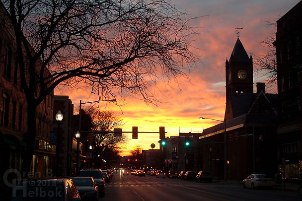 Columbia County courthouse and Main Street, Bloomsburg, Pennsylvania, at sunset