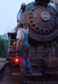 Railway Restoration Project 113's 0-6-0 C.N.J. #113 volunteer Chris Hohman as a brakeman at Minersville