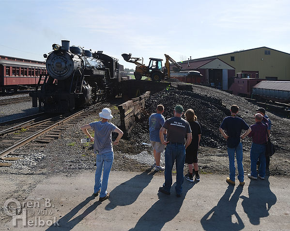 Strasburg Rail Road hostling tour watching #90's tender getting filled with coal