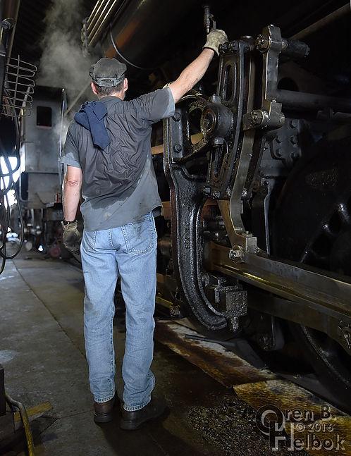 Strasburg Rail Road engineer Darin Esterly hostling #90 in the enginehouse