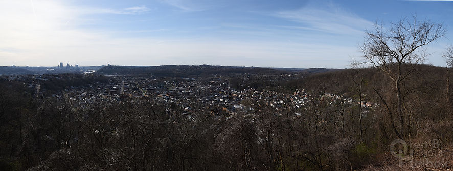 Panorama overlooking McKees Rocks, Pa., with downtown Pittsburgh in the distance