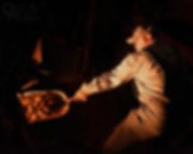Reading & Northern fireman Chuck Trusdell, steam locomotive, firebox glow, Oren B. Helbok photo