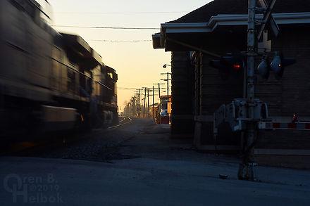 Iron Triangle, Fostoria, Ohio, B&O depot, South Main Street, eastbound CSX freight train, Oren B. Helbok photo