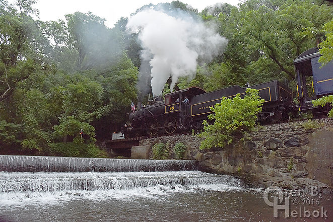 Wilmington & Western Railroad #98 with fireworks train at dam on Red Clay Creek