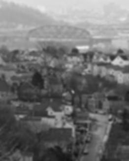 Looking down Benwood Avenue, McKees Rocks, Pa., OC Bridge in the distance