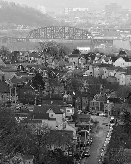 Looking down Benwood Avenue, McKees Rocks, Pa., OC Bridge in the distance