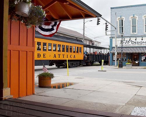 Arcade & Attica Railroad #18 arriving Arcade depot with brakeman Matt Slocum