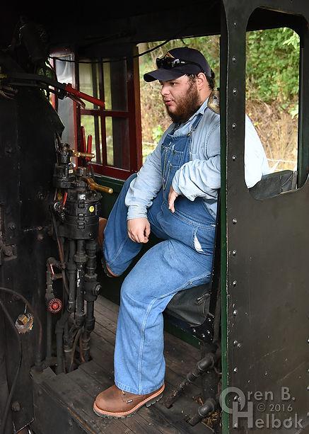 Wilmington & Western Railroad #98 at Marshallton volunteer engineer Steve Jensen Jr.