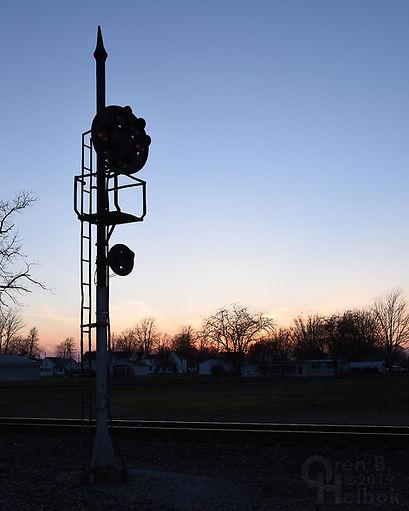 "Baltimore & Ohio ""B&O"" Color-Position-Light signal, ""Crossroads of the B. & O."", Deshler, Ohio, Oren B. Helbok photo"