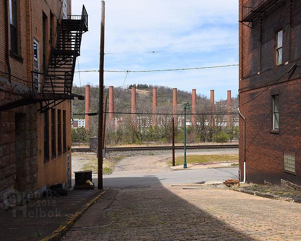 U.S. Steel Homestead Works smokestacks, looking down Howard Street, Homestead