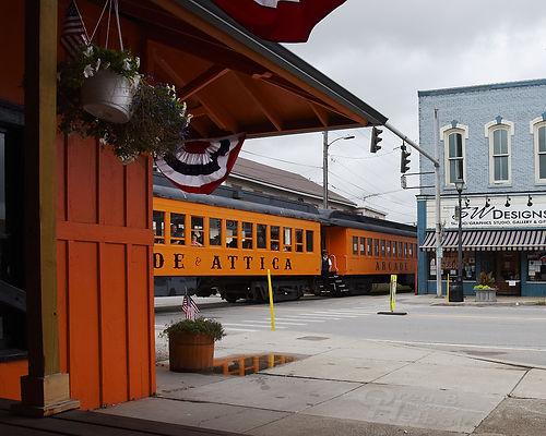 Arcade & Attica Railroad #18 arriving Arcade depot with brakeman Brian Pacos