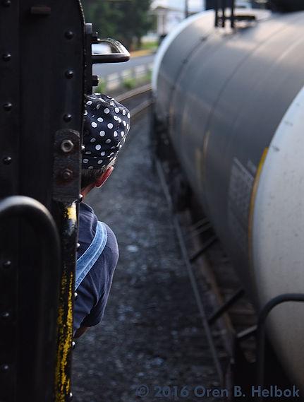 Railway Restoration Project 113's 0-6-0 C.N.J. #113 engineer Chris Bost at West Cressona