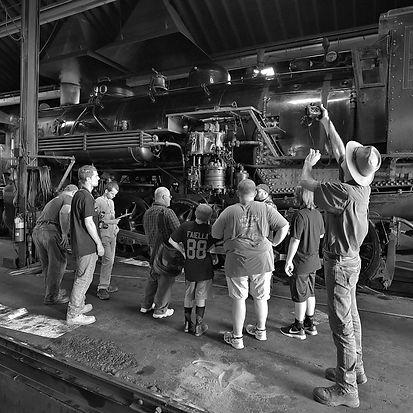 Strasburg Rail Road hostling tour in the enginehouse