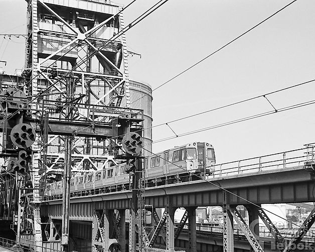 PATH train westbound at Dock Drawbridge, Newark, New Jersey, 1977, Oren B. Helbok photo
