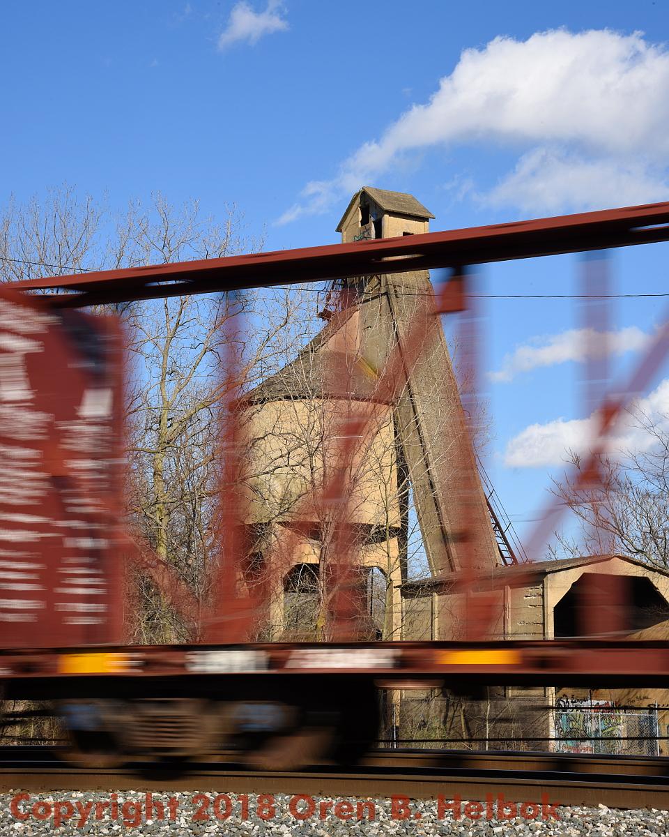 CSX freight passing B&O coal tower