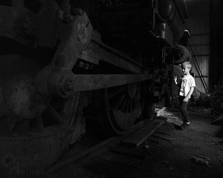 Arcade & Attica Railroad #14 in enginehouse, eccentric crank and rod