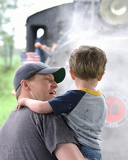 Arcade & Attica Railroad passengers, father and son