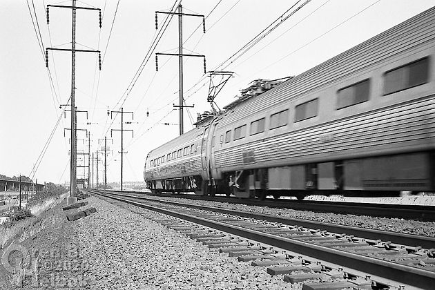 Amtrak Metroliner eastbound, Secaucus, New Jersey, 1977, Oren B. Helbok photo