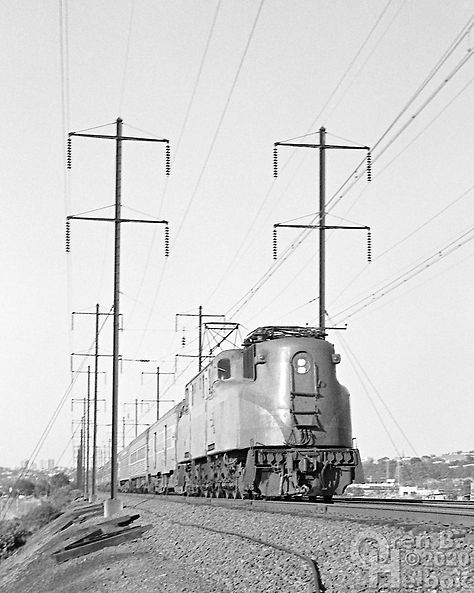Amtrak GG1 westbound, Secaucus, New Jersey, 1977, Oren B. Helbok photo