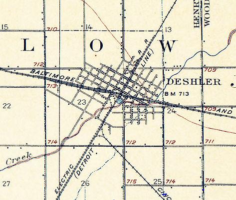 Deshler Ohio 1906 USGS map