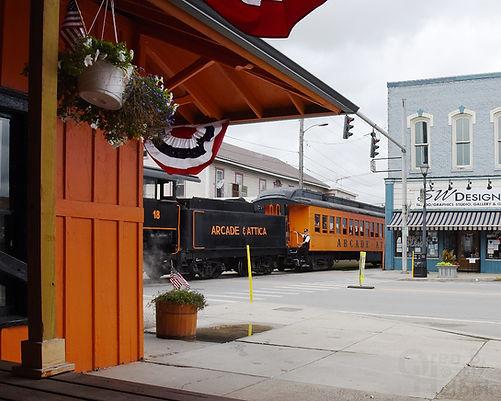 Arcade & Attica Railroad #18 arriving Arcade depot with conductor Patrick Connors Jr.