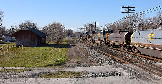Iron Triangle, Fostoria, Ohio, NYC station, northbound CSX freight, Oren B. Helbok photo