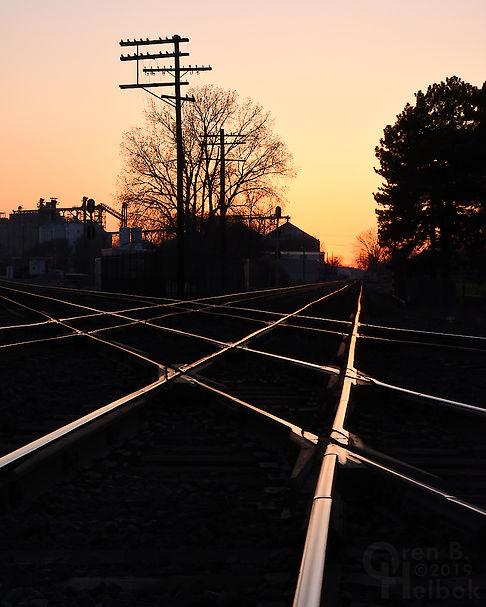 Sunset, Iron Triangle, Fostoria, Ohio, NS and CSX diamonds, Oren B. Helbok photo