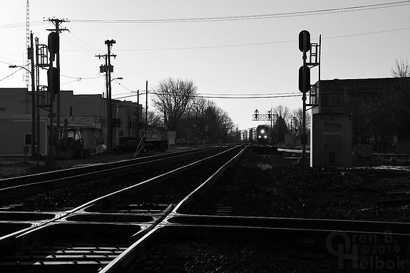 "CSX automotive train, ""Crossroads of the B. & O."", Deshler, Ohio, Oren B. Helbok photo"