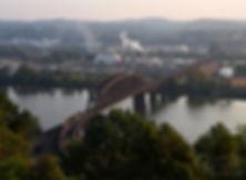 Norfolk Southern westbound coal train Ohio Connecting Bridge Pittsburgh, Oren B Helbok photo