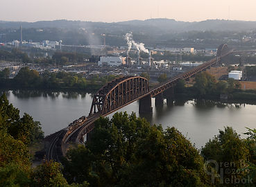 Norfolk Southern westbound coal train Ohio Connecting Bridge Pittsburgh, Oren B Helbok photo