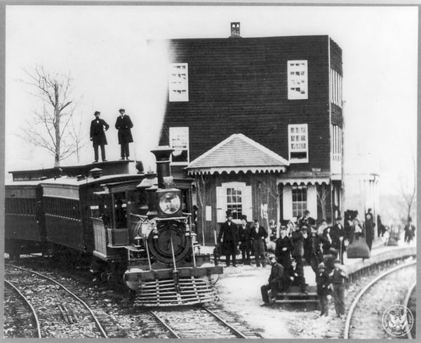 Abraham Lincoln at Hanover Junction, Pa.,1863, on his way to or from Gettysburg