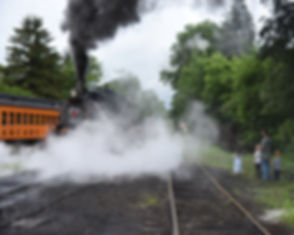 Arcade & Attica Railroad #18 in yard with family
