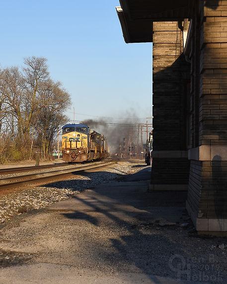 Iron Triangle, Fostoria, Ohio, B&O station, westbound CSX freight, Oren B. Helbok photo