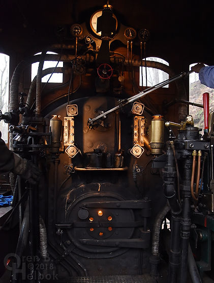 Steam Into History York #17, New Freedom, Pa., view of cab gauges, fittings, and firebox