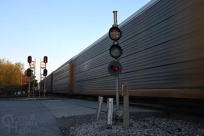 Iron Triangle, Fostoria, Ohio, South Main Street, eastbound NS freight train, Oren B. Helbok photo