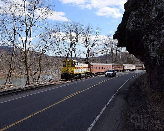North Shore Railroad Bloomsburg Easter train eastbound at the Indian Head in the Narrows, Catawissa, Pa., March 2018