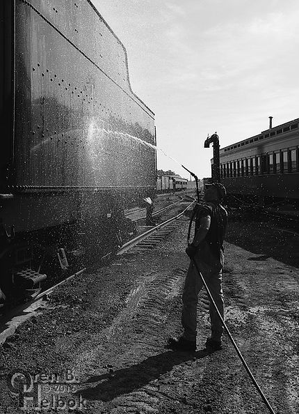 Strasburg Rail Road engineer Darin Esterly washing #90