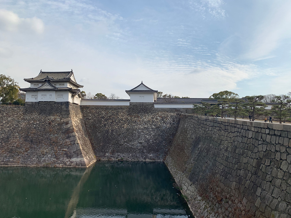 Moat and wall of Osaka castle